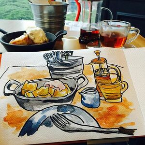 A quick sketch while having tea time. Challenge to complete the sketch without letting my lovely French toasts to be cold...challenge failed under air-conditioning environment....